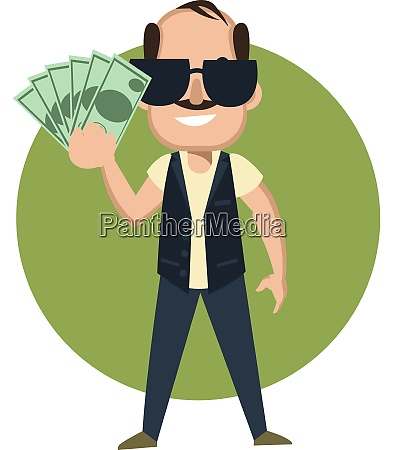 man with money illustration vector on