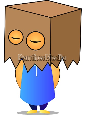old man with box on head