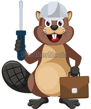 beaver worker illustration vector on white