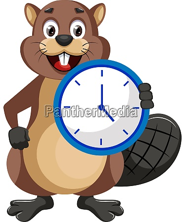 beaver with clock illustration vector on
