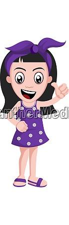 girl with purple ribbon illustration vector