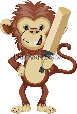 monkey with cricket bat illustration vector