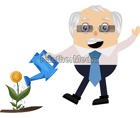 old man watering plant illustration vector