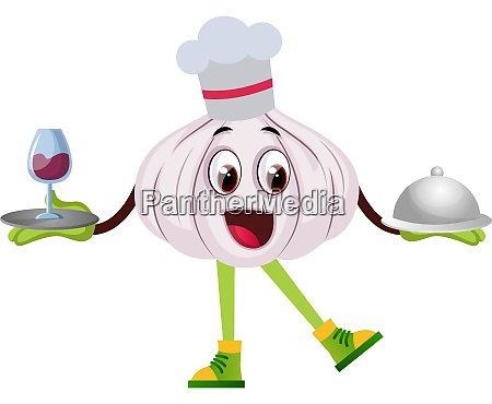 garlic cooking illustration vector on white
