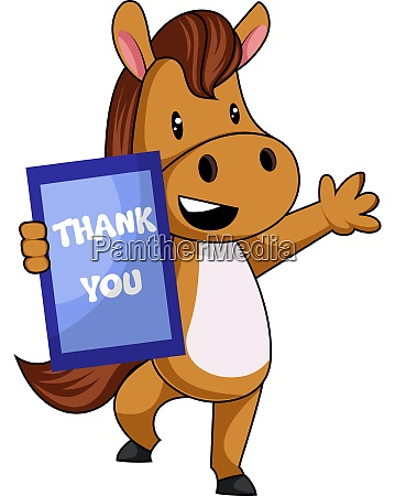 horse with thank you sign illustration