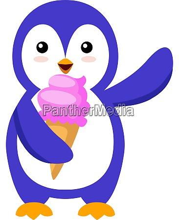 penguin with ice cream illustration vector