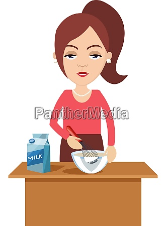 woman cooking with milk illustration vector