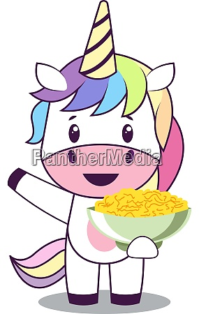 unicorn with snacks illustration vector on