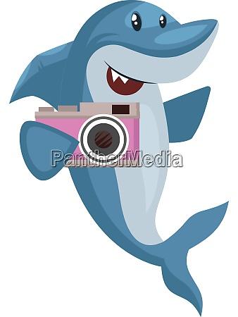 shark with camera illustration vector on