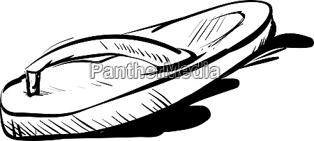 slippers drawing illustration vector on white