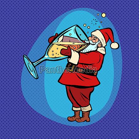 der weihnachtsmann trinkt champagner comic cartoon