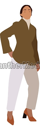 lady with white pants illustration vector