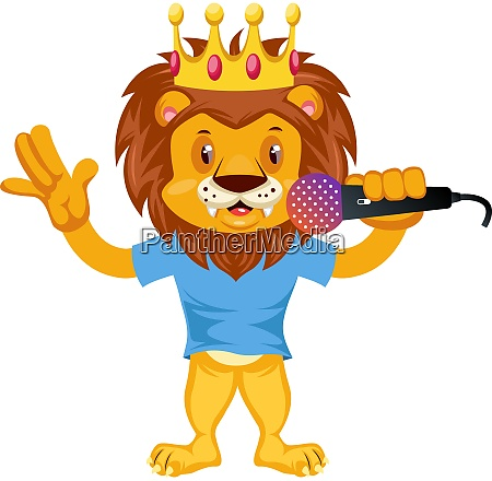 lion with microphone illustration vector on