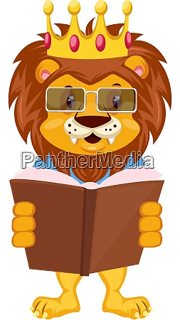 lion reading book illustration vector on