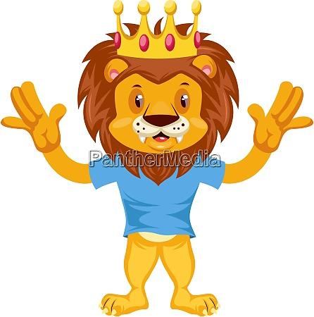 scared lion illustration vector on white