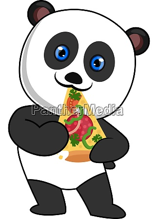 panda eating pizza illustration vector on