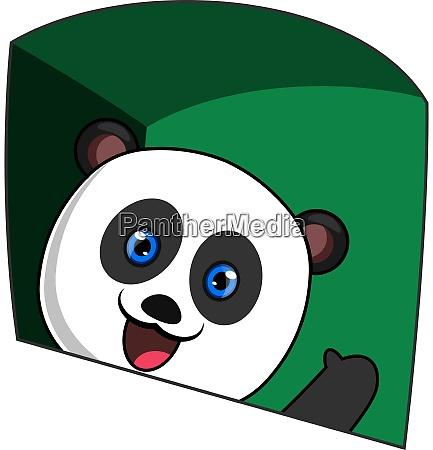 waving panda illustration vector on white