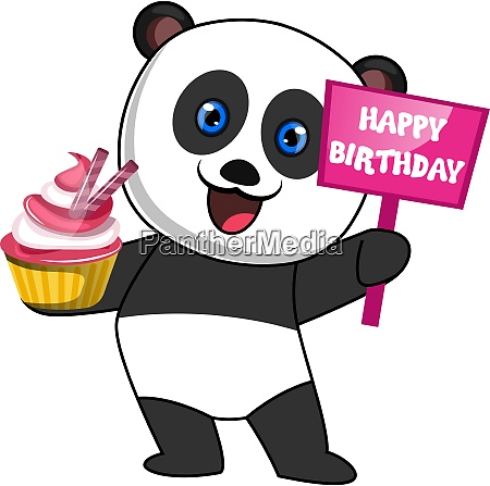 panda with cake illustration vector on