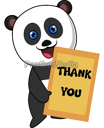 panda with thank you sign illustration