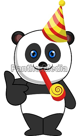 panda with birthday hat illustration vector