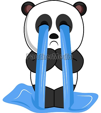 crying panda illustration vector on white
