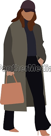 woman with bag illustration vector on