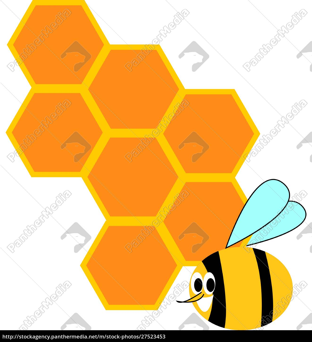 honeycomb, and, bee, , illustration, , vector, on - 27523453