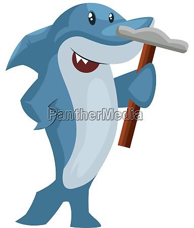 shark with hammer illustration vector on