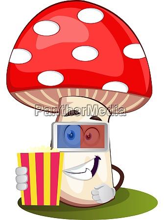 mushroom with 3d glasses illustration vector