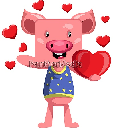 pig in love illustration vector on