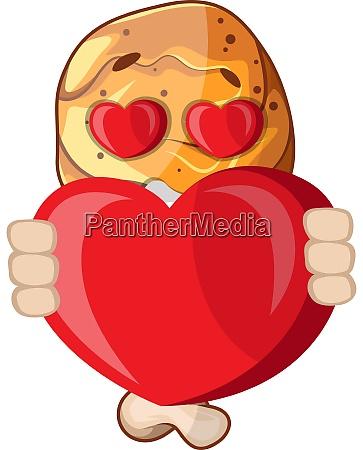 fried chicken leg in love holding