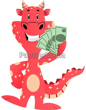 red dragon is holding money illustration