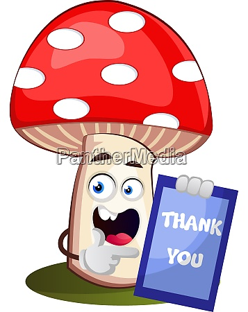 mushroom with thank you sign illustration