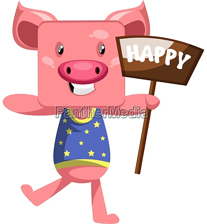 happy pig illustration vector on white
