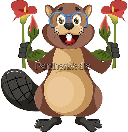 beaver with flowers illustration vector on