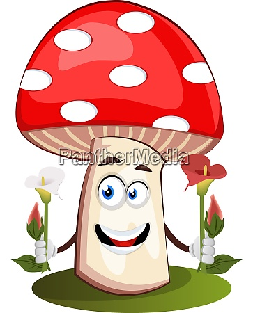 mushroom holding flowers illustration vector on