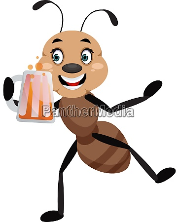 ant holding beer illustrator vector on