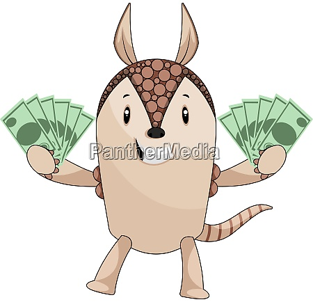 armadillo holding money illustration vector on