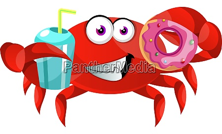 crab with donut illustration vector on