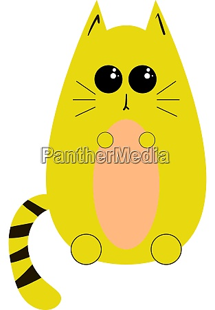 yellow cat illustration vector on white