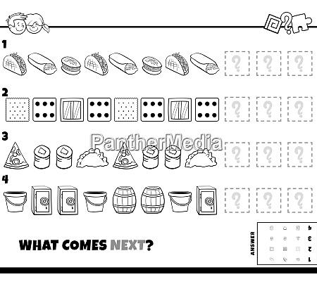 musterspiel mit essen und objekten farbbuch