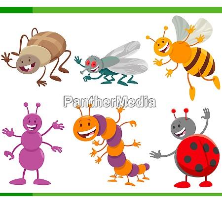 lustige cartoon insekten tier charaktere gesetzt