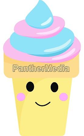 happy ice cream illustration vector on
