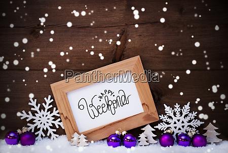 rahmen lila ball baum schnee schneeflocken