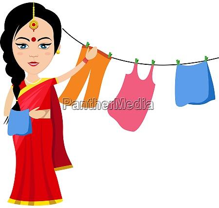 indische frau mit kleidung illustration vektor