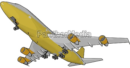gelbe passagierflugzeug illustration vektor auf weissem