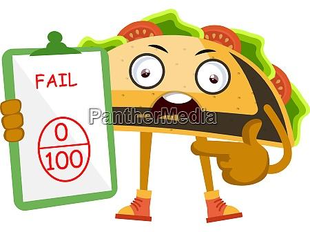 taco scheitern auf test illustration vektor