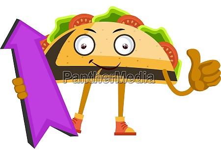 taco with purple arrow illustration vector