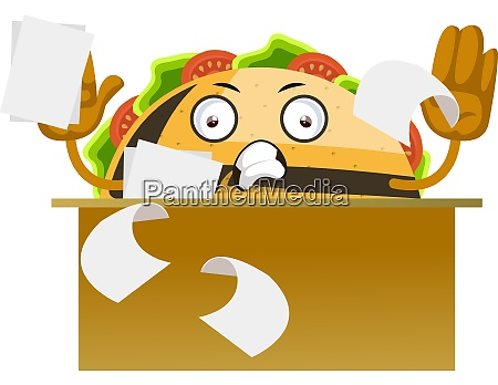 taco working illustration vector on white
