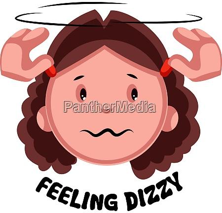 girl feeling dizzy illustration vector on